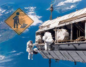 Astronautas Construyendo la Estación Espacial sobre New Zealand